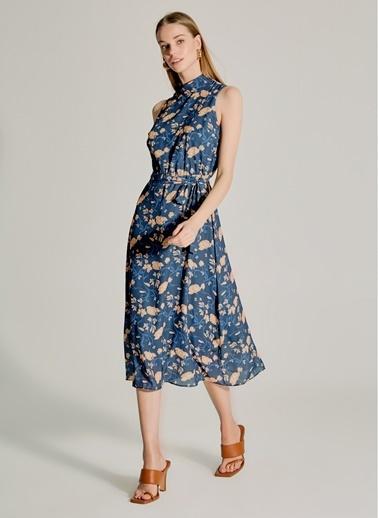 NGSTYLE Dik Yakalı Desenli Elbise Lacivert